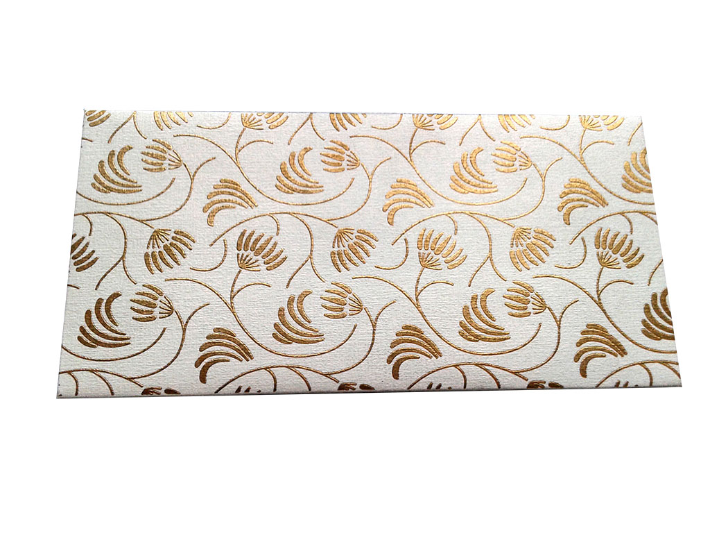 Front view of Shagun Envelope with Waving Flower Theme in Ivory
