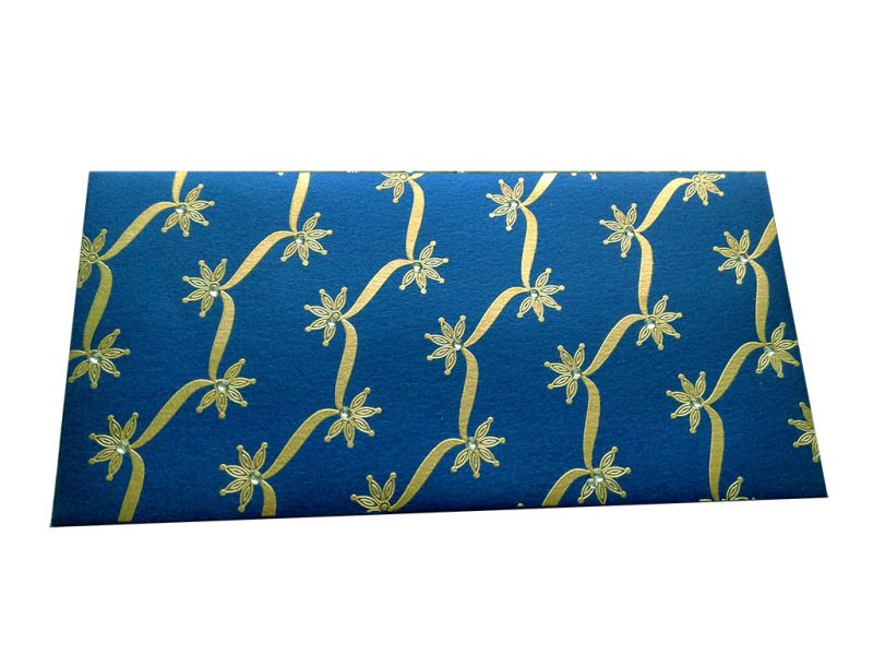 Front view of Imperial Blue Shagun Envelope with Dazzling Floral Vines