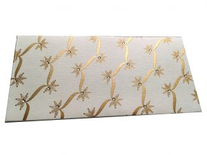 Front view of Ivory Shagun Envelope with Dazzling Floral Vines