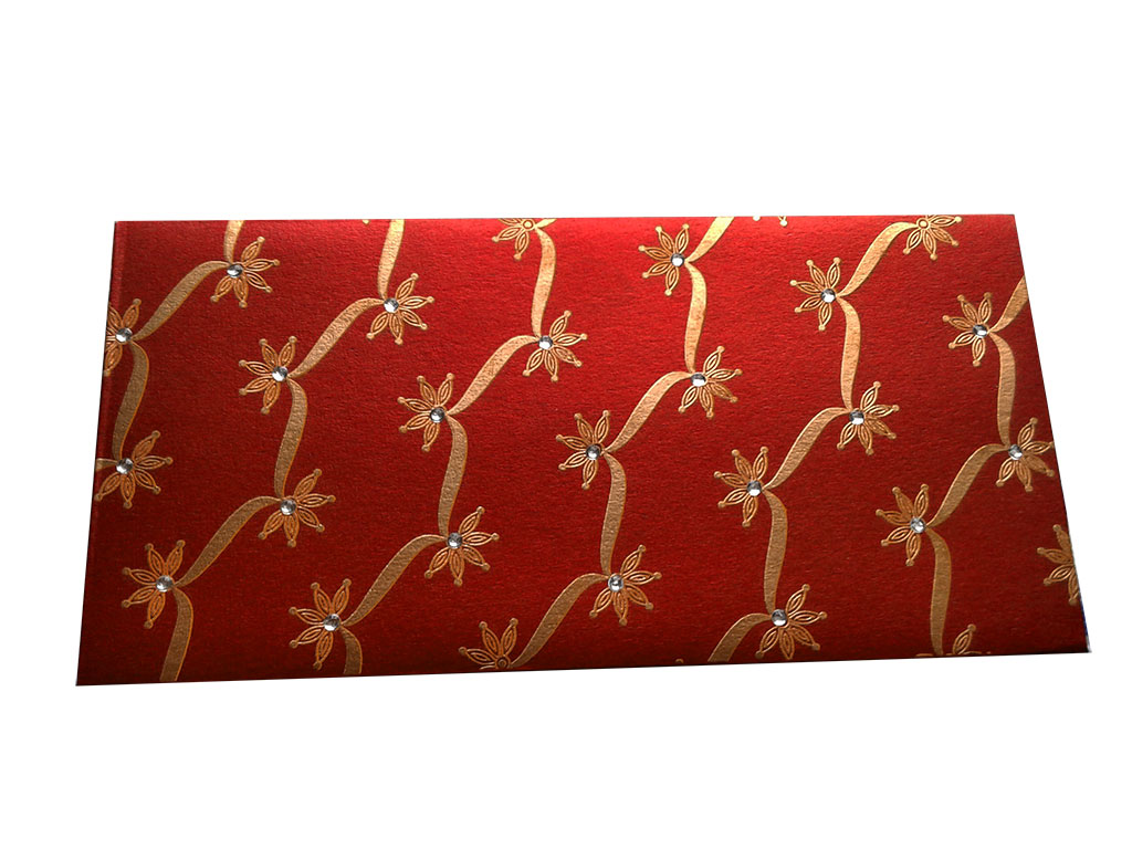 Front view of Royal Red Shagun Envelope with Dazzling Floral Vines