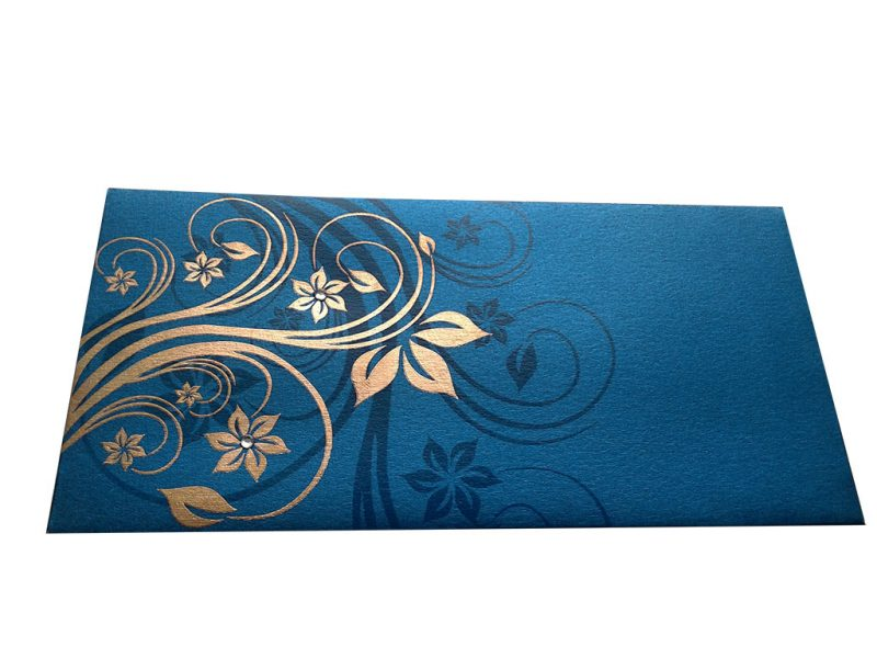 Front view of Elegant Floral Theme Money Gift Envelopes in Imperial Blue