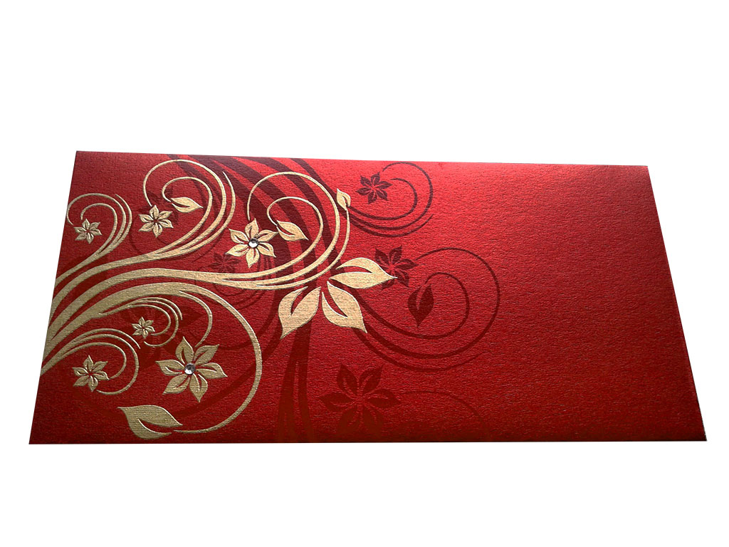Front view of Elegant Designer Envelope in Red with Golden Floral