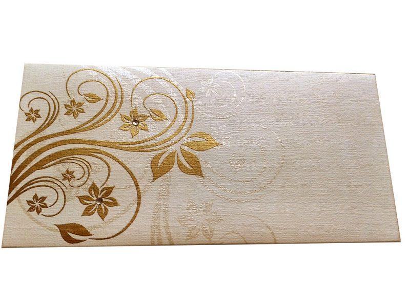 Front view of Elegant Floral Theme Shagun Envelopes in Ivory
