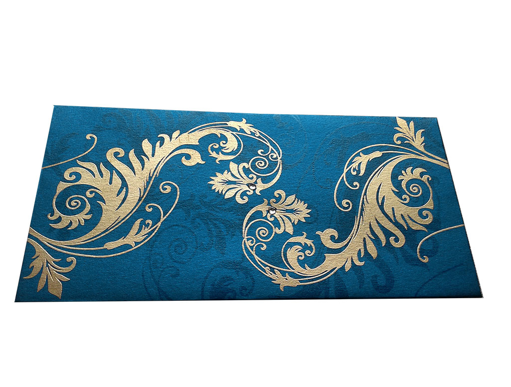 Front view of Indian Money Envelope in Imperial Blue with Designer Floral Theme