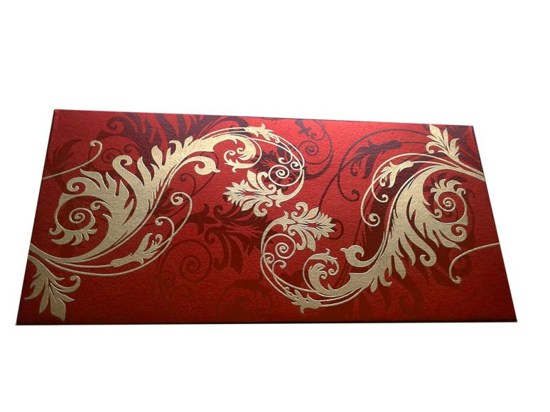 Front view of Indian Money Envelope in Royal Red with Designer Floral Theme