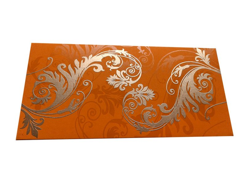 Front view of Indian Money Envelope in Amber Orange with Designer Floral Theme