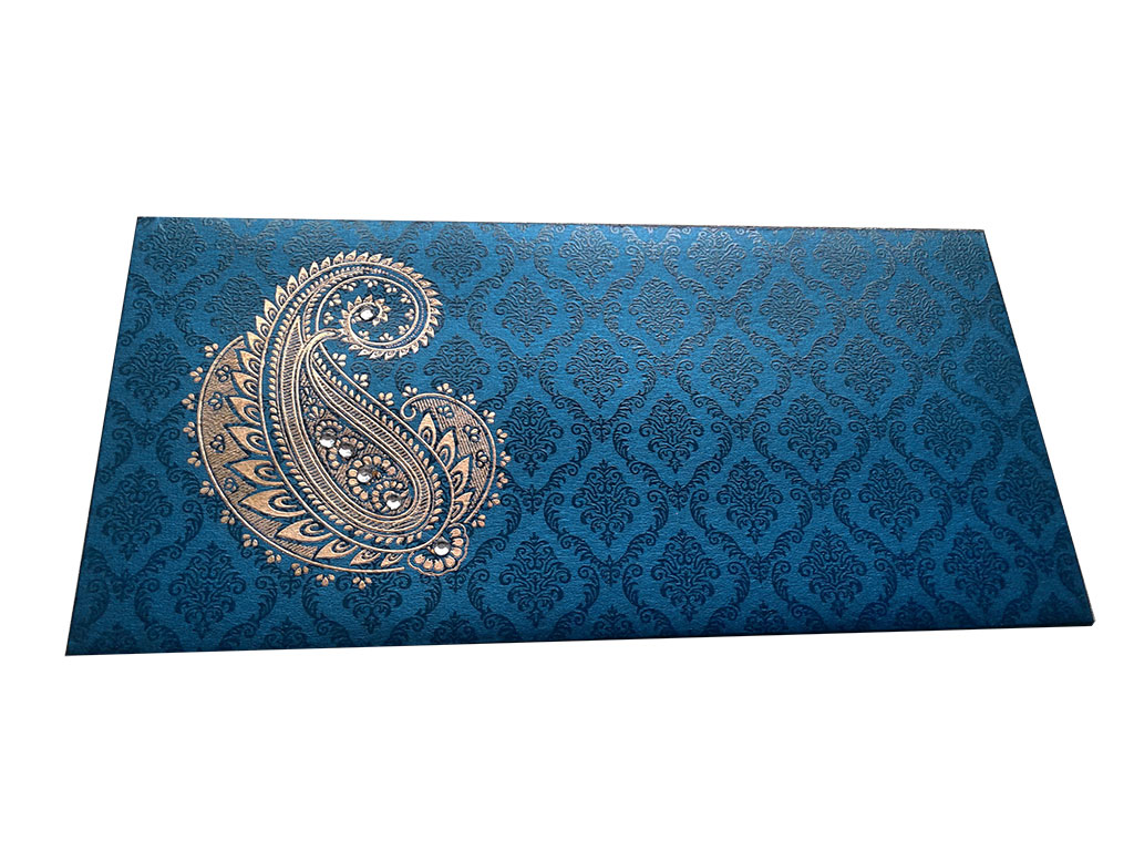 Front view of Paisley and Damask Designer Money Envelope in Imperial Blue