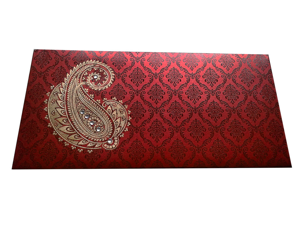 Front view of Paisley and Damask Designer Money Envelope in Royal Red