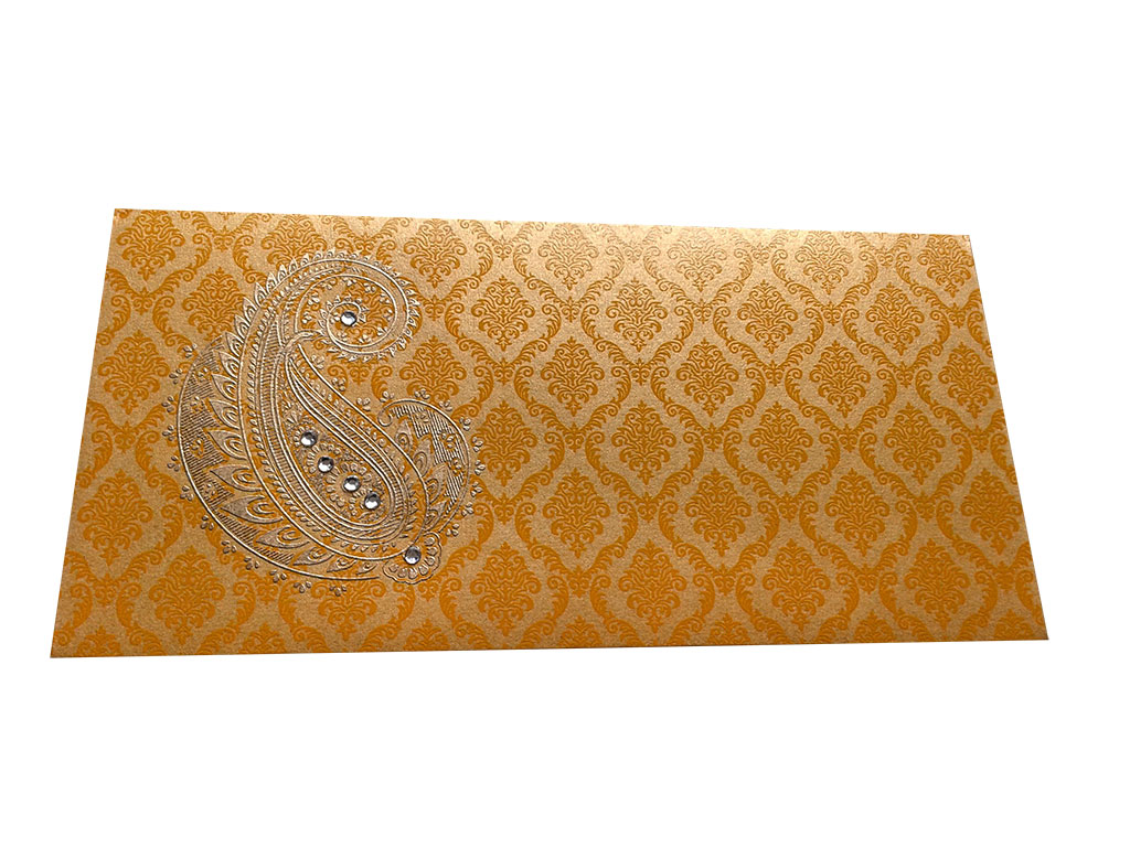 Front view of Paisley and Damask Designer Money Envelope in Rich Gold