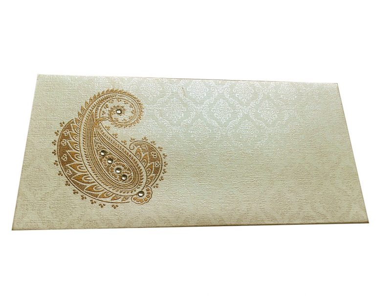 Front view of Paisley and Damask Designer Money Envelope in Ivory