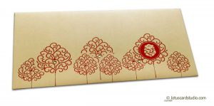 Front view of Ganesha Shagun Envelope on Bright Beige and Red Trees