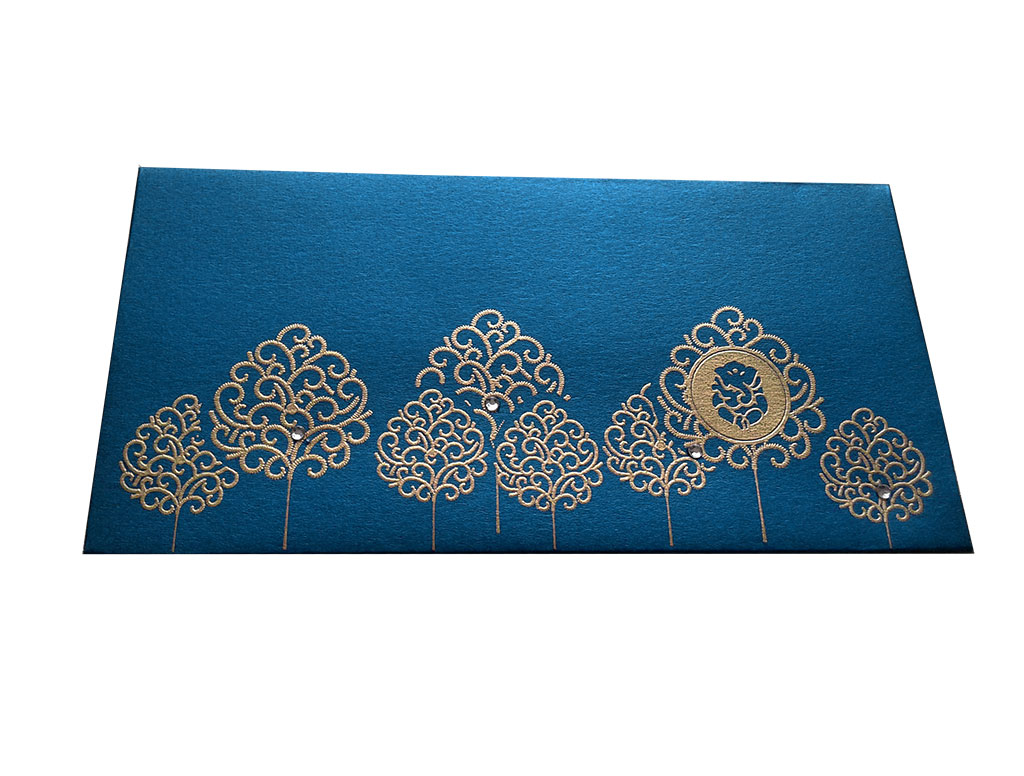 Front view of Ganpati and Trees Designer Shagun Envelope in Imperial Blue