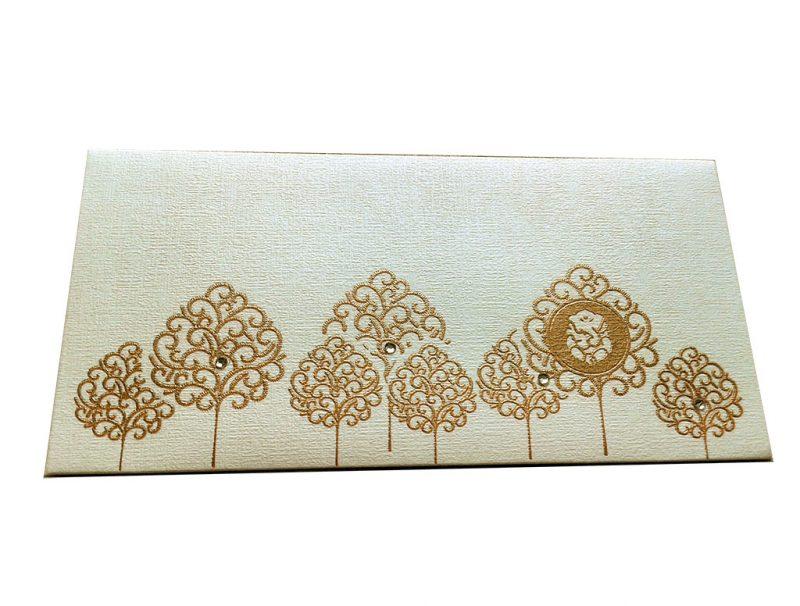 Front view of Designer Shagun Envelope in Ivory