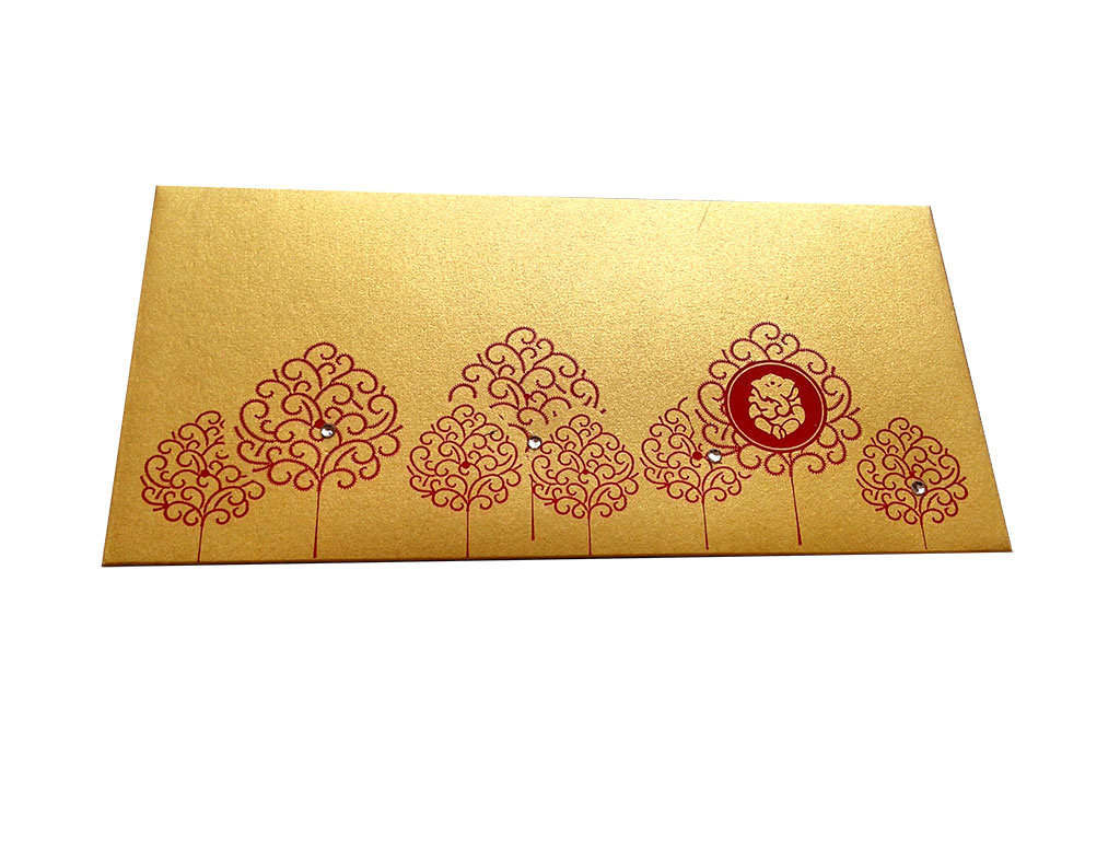 Front view of Ganpati and Trees Designer Shagun Envelope in Rich Gold