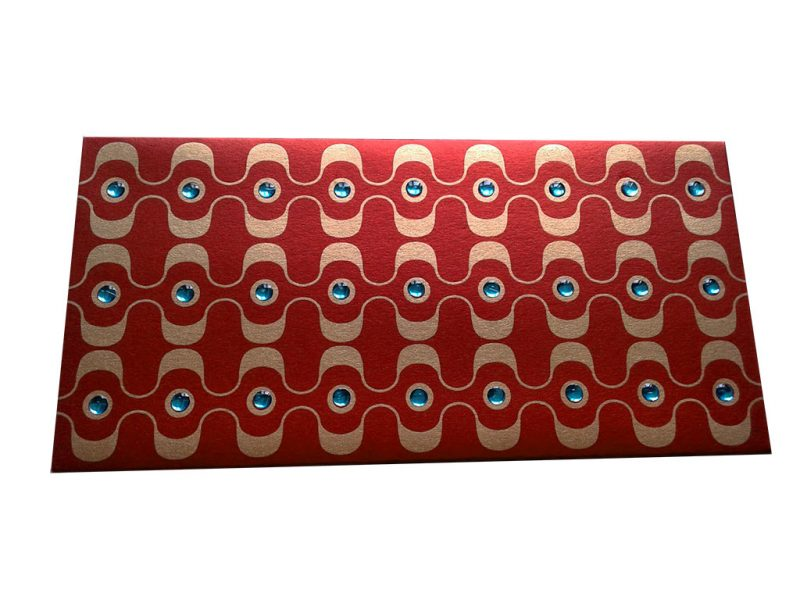 Front view of Rhinestones Rich Shagun Envelope in Royal Red