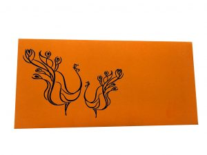 Front view of Shagun Envelopes in Amber Orange with Peacock Pair