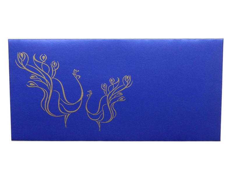 Front view of Gift Envelopes in Sapphire Blue with Golden Peacocks