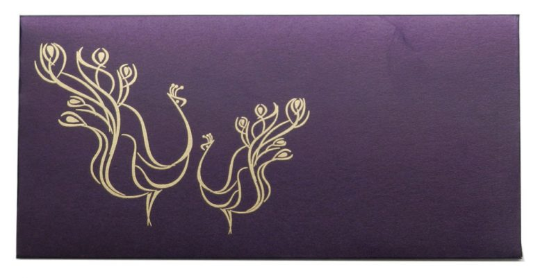 Front view of Money Envelopes in Royal Purple with Peacock Pair