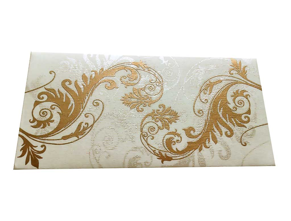 Front view of Indian Money Envelope in Ivory with Designer Floral Theme
