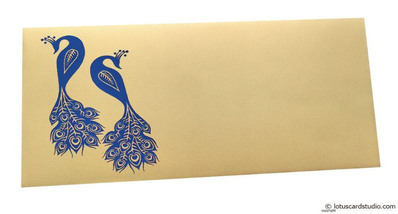 Front view of Money Envelope in Bright Beige with Blue Peacocks