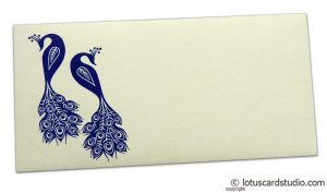Front view of Money Envelope in Ivory with Blue Peacocks