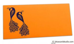 Front view of Money Envelope in Amber Orange with Blue Peacocks