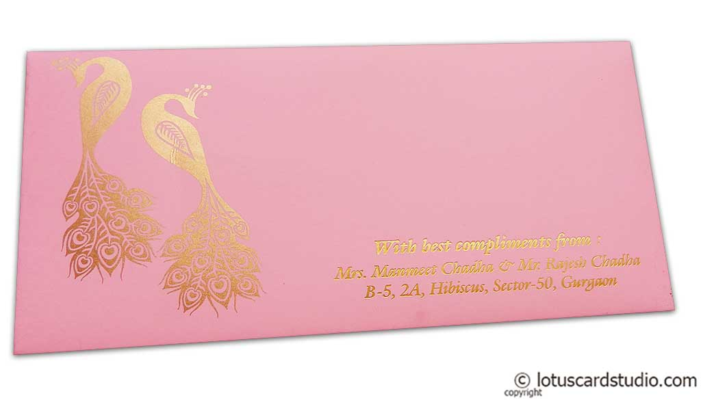 Front view of Money Envelope in Light Pink with Golden Peacocks