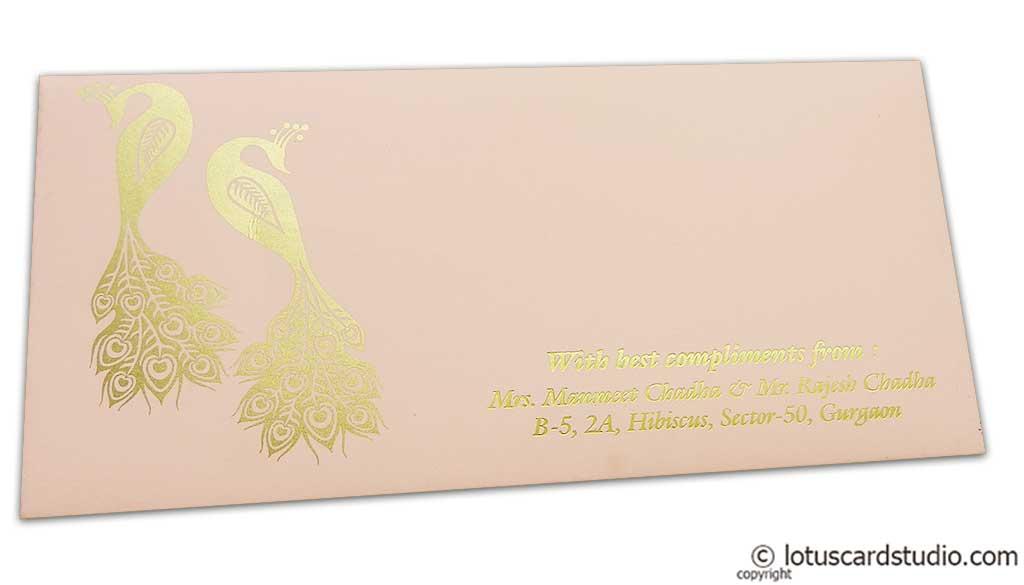 Money Envelope in Light Pink with Golden Peacocks
