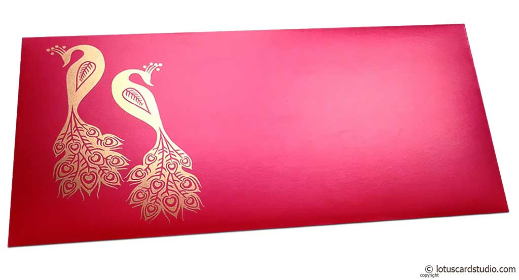 Front view of Money Envelope in Red with Golden Peacocks
