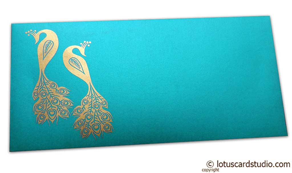 Front view of Money Envelope in Teal with Golden Peacocks