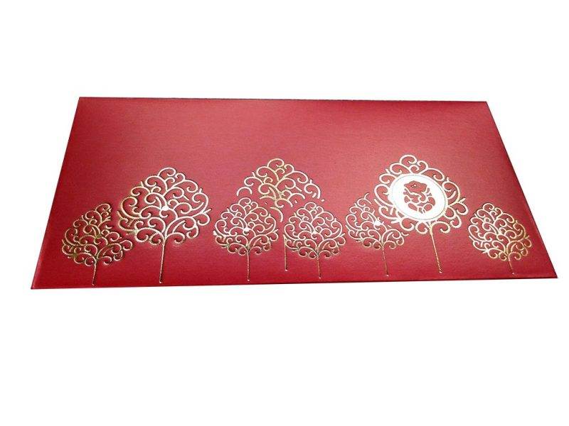 Front view of Ganpati and Trees Designer Shagun Envelope in Classic Red