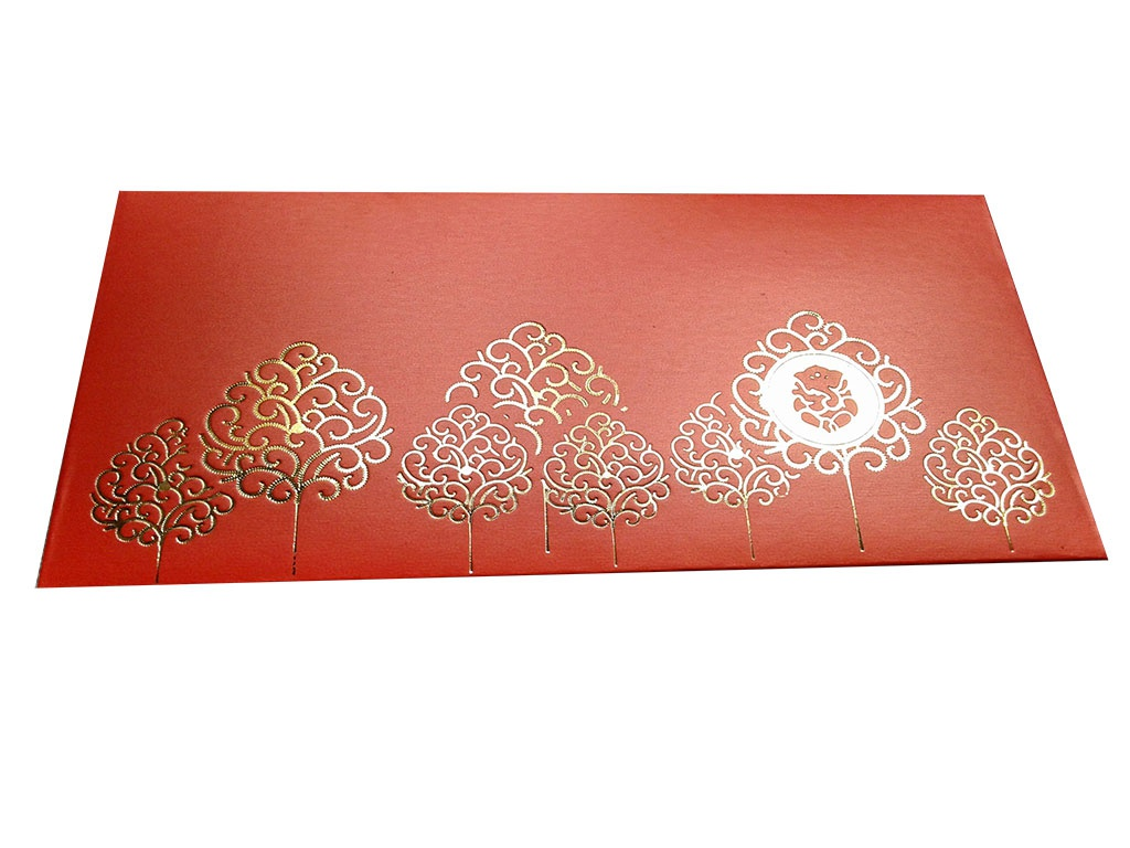 Front view of Ganpati and Trees Designer Shagun Envelope in Classic Orange