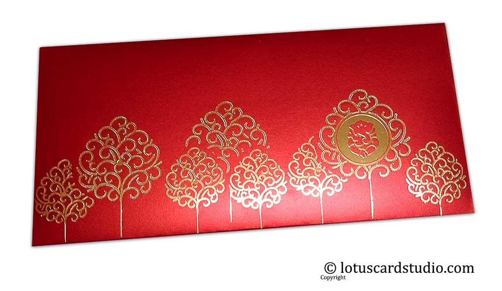 Front view of Ganpati and Trees Designer Shagun Envelope in Royal Red