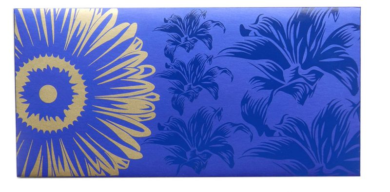 Front view of Beautiful Imperial Blue Color Envelope with Golden Blossom Flower