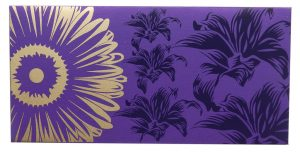 Front view of Beautiful Light Purple Color Envelope with Golden Blossom Flower