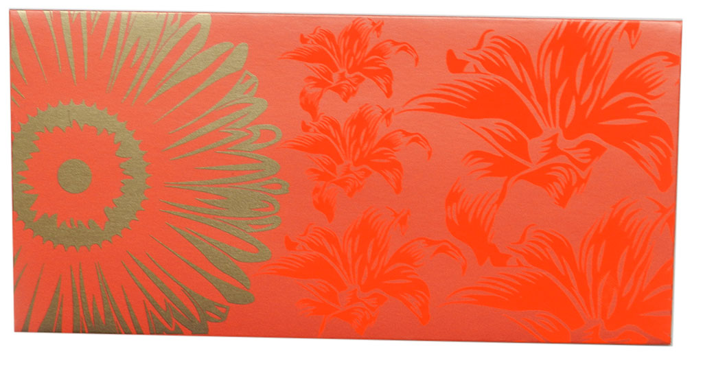 Front view of Beautiful Classic Orange Color Envelope with Golden Blossom Flower