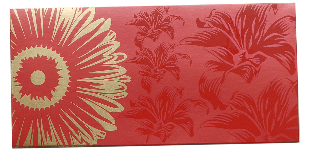 Front view of Beautiful Royal Red Color Envelope with Golden Blossom Flower