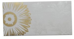 Front view of Beautiful Ivory Color Envelope with Golden Blossom Flower