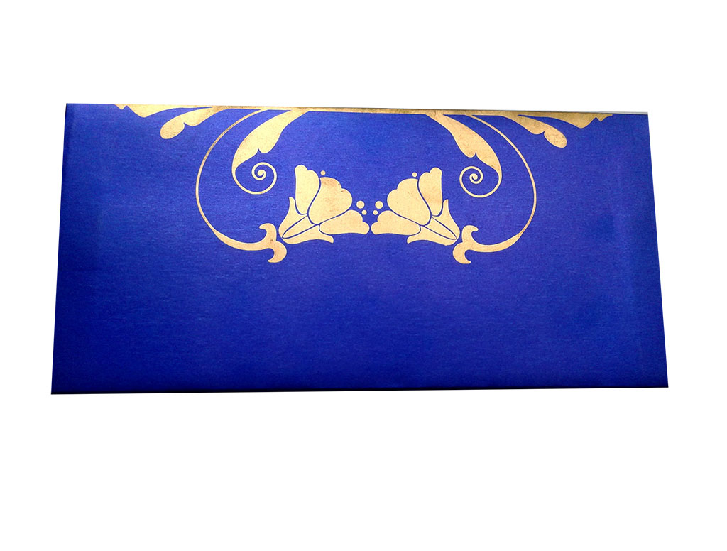 Front view of Shagun Envelope in Imperial Blue Color Having Golden Tulip Flowers