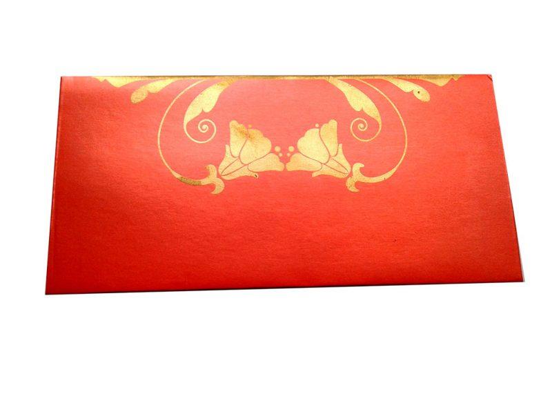 Front view of Shagun Envelope in Classic Orange Color Having Golden Tulip Flowers