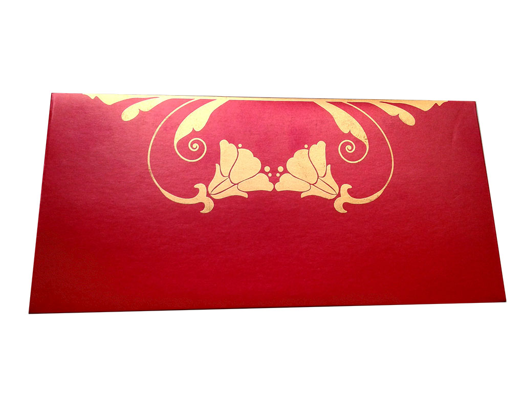 Front view of Shagun Envelope in Classic Red Color Having Golden Tulip Flowers