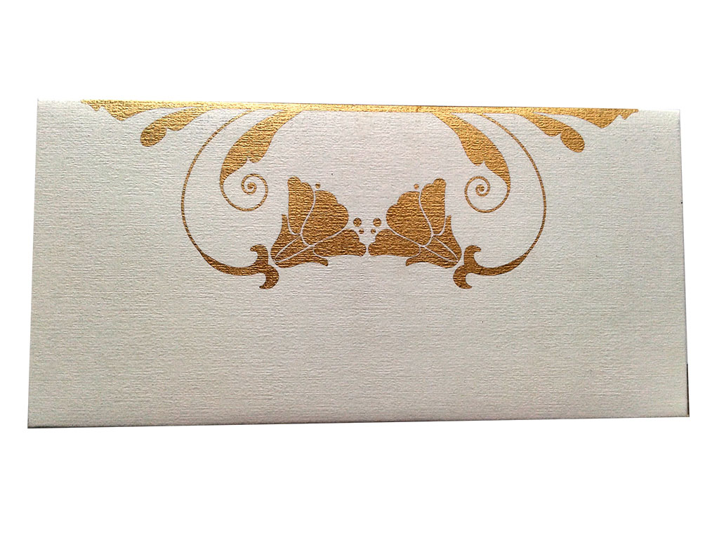 Front view of Personalised Money Envelope in Ivory Color Having Golden Tulip Flowers