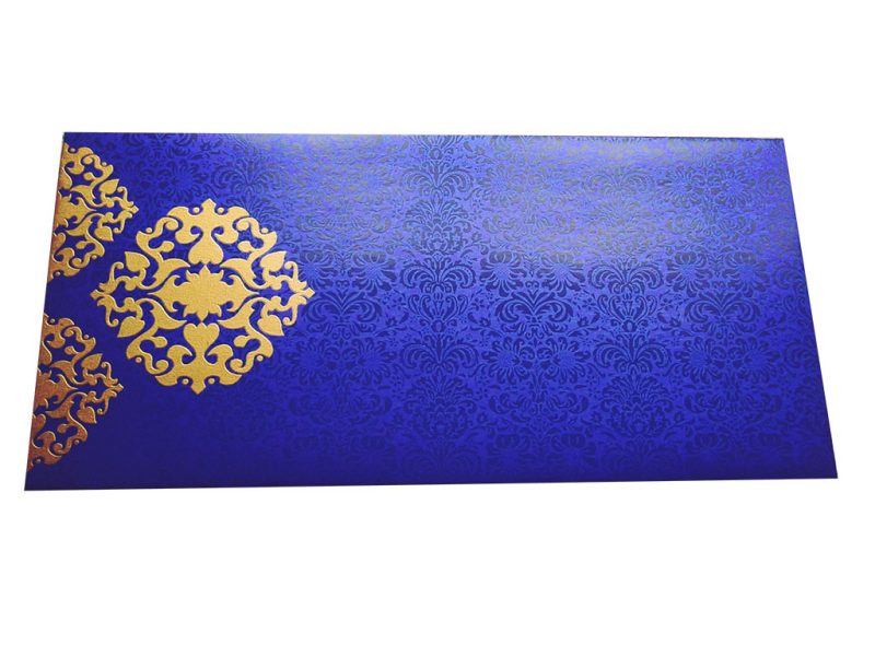 Front view of Shagun Envelope in Imperial Blue with Classy Floral Design