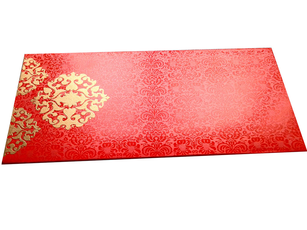 Front view of Shagun Envelope in Classic Orange with Classy Floral Design