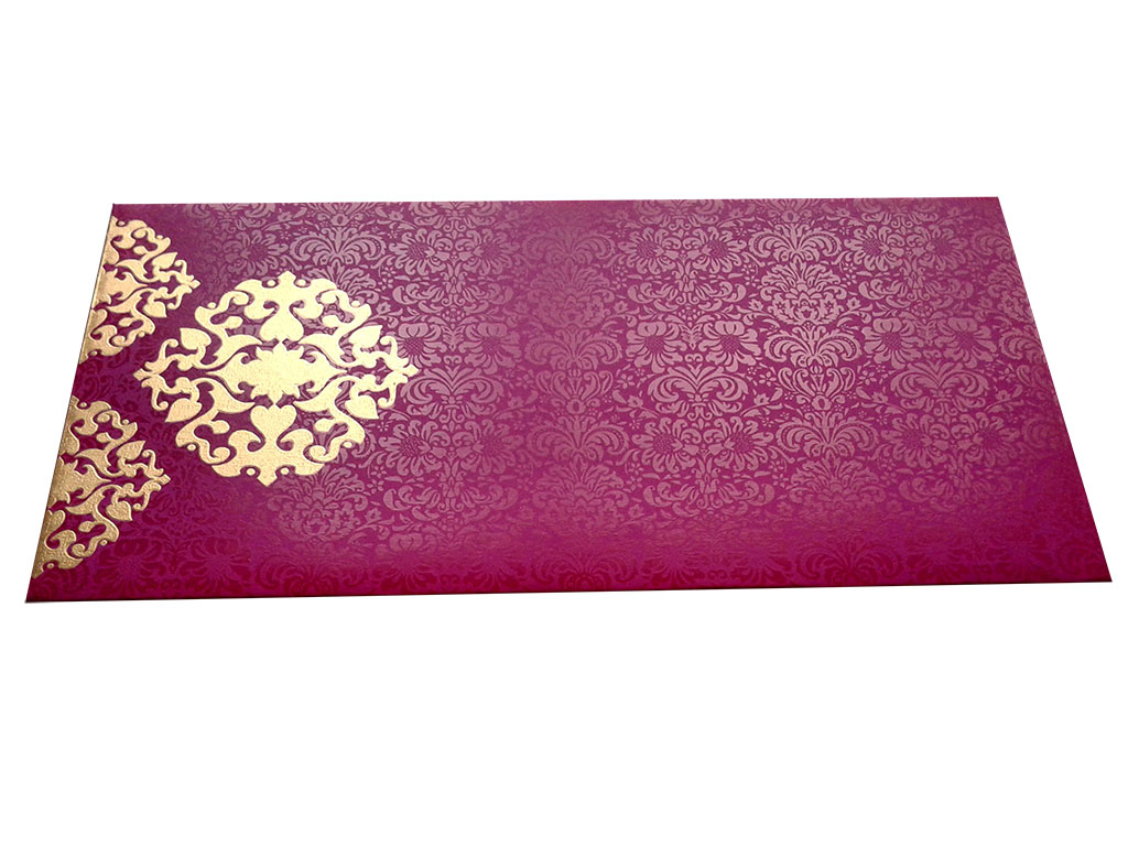 Front view of Shagun Envelope in Mexican Pink with Classy Floral Design