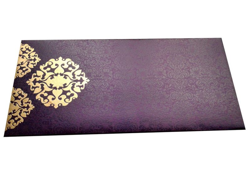 Front view of Shagun Envelope in Royal Purple with Classy Floral Design