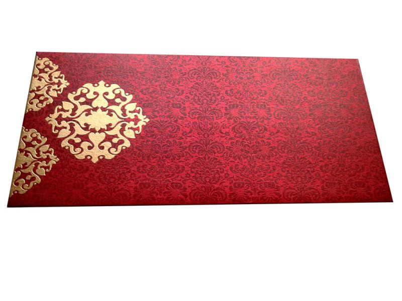 Front view of Gift Envelope in Royal Red with Classy Floral Design