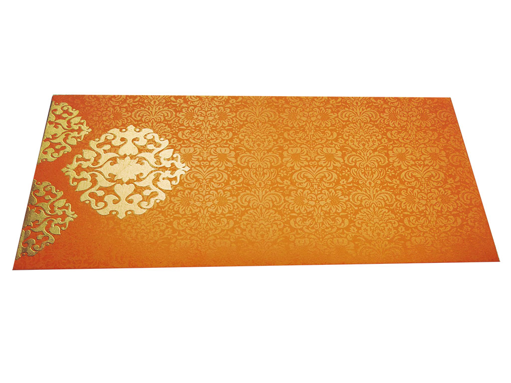 Front view of Gift Money in Yellowish Orange Envelope with Classy Floral Design