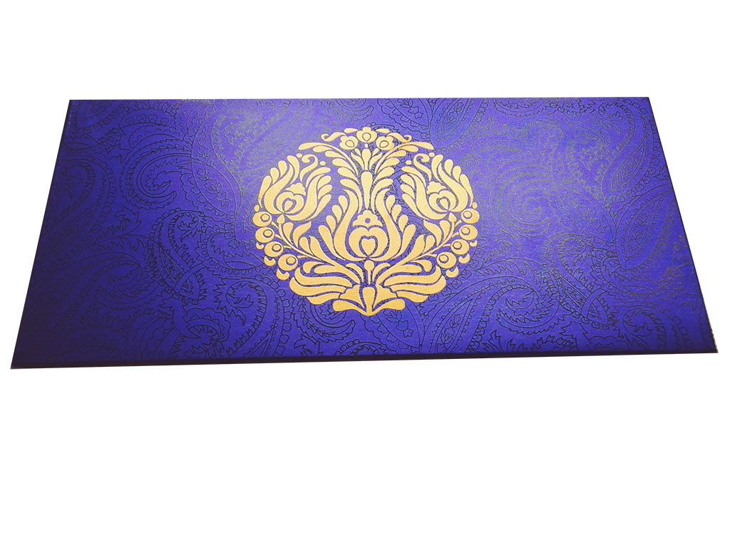 Front view of Imperial Blue Money Envelope with Golden Crown Flower