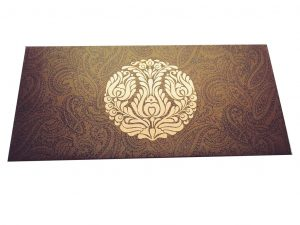 Front view of Rich Brown Money Envelope with Golden Crown Flower